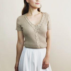 ST. JOHN Metallic Sweater Knit Top